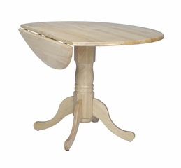 "42"" Round Dual Drop Leaf Pedestal Table in Natural - T01-42DP"