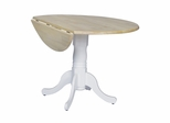 "42"" Round Dual Drop Leaf Pedestal Table in White / Natural - T02-42DP"