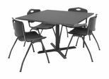 "42""x42"" Table and 4 ""M"" Stack Chairs Set - TBS42GYSC47"