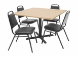 "42""x42"" Table and 4 Restaurant Stackers Set - TBS42BESC29BK"