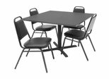 "42""x42"" Table and 4 Restaurant Stackers Set - TBS42GYSC29BK"
