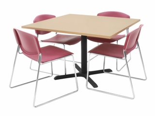 "42""x42"" Table and 4 Zeng Stack Chairs Set - TBS42BESC44"