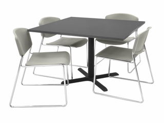 "42""x42"" Table and 4 Zeng Stack Chairs Set - TBS42GYSC44"