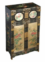 "43"" Antique Style ""Four Seasons"" Wood Storage Cabinet in Black / Gold Lacquer - frc1232"