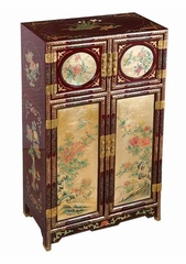 "43"" Antique Style ""Four Seasons"" Wood Storage Cabinet in Gold / Red - frc1233"