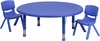 45'' Round Adjustable Blue Plastic Activity Table Set - YU-YCX-0053-2-ROUND-TBL-BLUE-R-GG