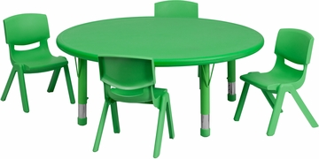 45'' Round Adjustable Green  Activity Table Set - YU-YCX-0053-2-ROUND-TBL-GREEN-E-GG
