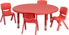 45'' Round Adjustable Red Activity Table Set- YU-YCX-0053-2-ROUND-TBL-RED-E-GG