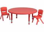 45'' Round Adjustable Red Plastic Activity Table Set - YU-YCX-0053-2-ROUND-TBL-RED-R-GG