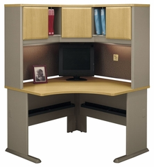 "48"" Corner Desk and Hutch Set - Series A Light Oak Collection - Bush Office Furniture - WC64366-67"