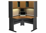 "48"" Corner Desk and Hutch Set - Series A Natural Cherry Collection - Bush Office Furniture - WC57466-67"