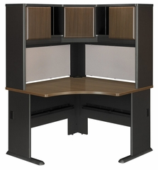 "48"" Corner Desk and Hutch Set - Series A Walnut Collection - Bush Office Furniture - WC25566-67"