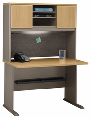"48"" Desk and Hutch Set - Series A Light Oak Collection - Bush Office Furniture - WC64348-49"
