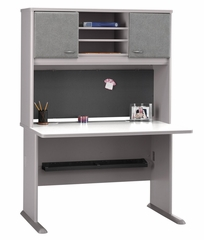 "48"" Desk and Hutch Set - Series A Pewter Collection - Bush Office Furniture - WC14548-49"