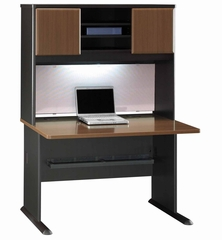 "48"" Desk and Hutch Set - Series A Walnut Collection - Bush Office Furniture - WC25548-49"