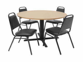 48 Inch Round Table and 4 Restaurant Stackers Set - TBR48BESC29BK