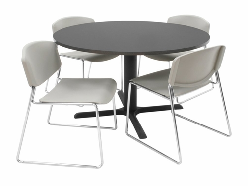 48 Inch Round Table and 4 Zeng Stack Chairs Set - TBR48GYSC44