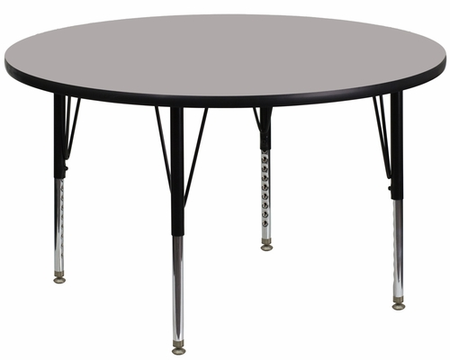 48'' Round Activity Table, 1.25'' Thick High Pressure Grey Laminate Top & Height Adjustable Pre-School Legs - XU-A48-RND-GY-H-P-GG