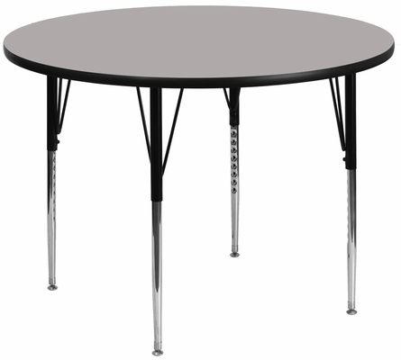48'' Round Activity Table, 1.25'' Thick High Pressure Grey Laminate Top & Standard Height Adjustable Legs - XU-A48-RND-GY-H-A-GG