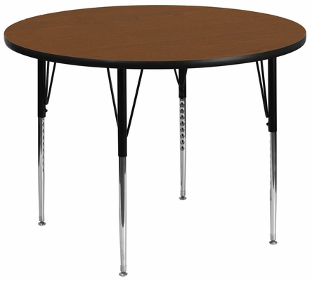 48'' Round Activity Table, 1.25'' Thick High Pressure Oak Laminate Top & Standard Height Adjustable Legs - XU-A48-RND-OAK-H-A-GG
