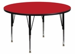 48'' Round Activity Table, 1.25'' Thick High Pressure Red Laminate Top & Height Adjustable Pre-School Legs - XU-A48-RND-RED-H-P-GG