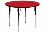 48'' Round Activity Table, 1.25'' Thick High Pressure Red Laminate Top & Standard Height Adjustable Legs - XU-A48-RND-RED-H-A-GG