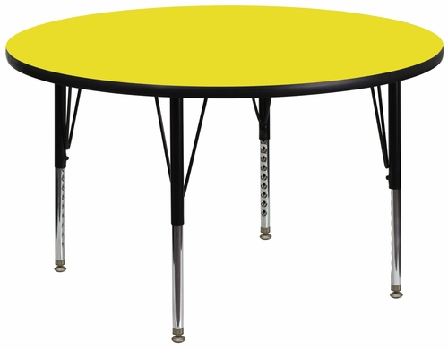 48'' Round Activity Table, 1.25'' Thick High Pressure Yellow Laminate Top & Height Adjustable Pre-School Legs - XU-A48-RND-YEL-H-P-GG