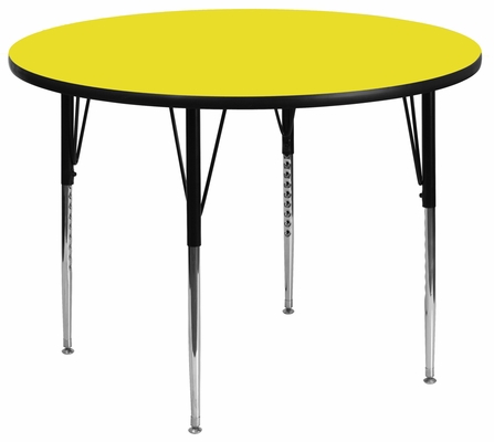 48'' Round Activity Table, 1.25'' Thick High Pressure Yellow Laminate Top & Standard Height Adjustable Legs - XU-A48-RND-YEL-H-A-GG