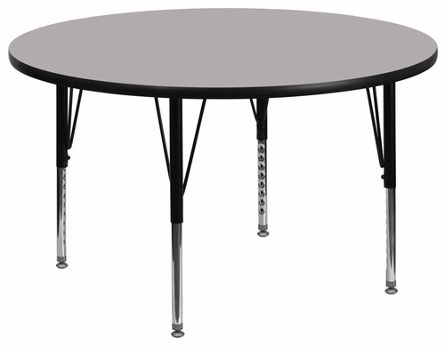 48'' Round Activity Table, Grey Thermal Fused Laminate Top & Height Adjustable Pre-School Legs - XU-A48-RND-GY-T-P-GG