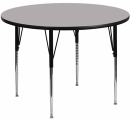 48'' Round Activity Table, Grey Thermal Fused Laminate Top & Standard Height Adjustable Legs - XU-A48-RND-GY-T-A-GG