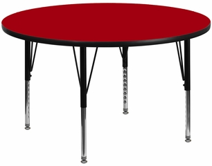 48'' Round Activity Table, Red Thermal Fused Laminate Top & Height Adjustable Pre-School Legs - XU-A48-RND-RED-T-P-GG