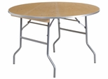 48'' Round HEAVY DUTY Birchwood Folding Banquet Table - XA-48-BIRCH-M-GG