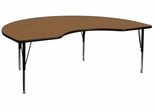48''W x 72''L Kidney Shaped Activity Table, Oak Thermal Fused Laminate Top & Height Adjustable Pre-School Legs - XU-A4872-KIDNY-OAK-T-P-GG