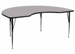 48''W x 72''L Kidney Shaped Adjustable Activity Table with Grey Thermal Fused Laminate Top - XU-A4872-KIDNY-GY-T-A-GG