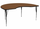 48''W x 72''L Kidney Shaped Adjustable Activity Table with High Pressure Oak Top - XU-A4872-KIDNY-OAK-H-A-GG
