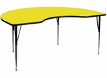 48''W x 72''L Kidney Shaped Adjustable Activity Table with High Pressure Yellow Top - XU-A4872-KIDNY-YEL-H-A-GG