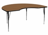 48''W x 72''L Kidney Shaped Adjustable Activity Table with Oak Top - XU-A4872-KIDNY-OAK-T-A-GG