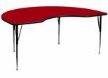 48''W x 72''L Kidney Shaped Adjustable Activity Table with Red Thermal Fused Laminate Top - XU-A4872-KIDNY-RED-T-A-GG