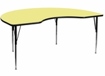 48''W x 72''L Kidney Shaped Adjustable Activity Table with Yellow Thermal Fused Laminate Top - XU-A4872-KIDNY-YEL-T-A-GG