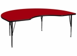 48''W x 72''L Kidney Shaped Red Activity Table - Height Adjustable Pre-School Legs - XU-A4872-KIDNY-RED-T-P-GG