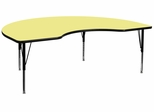 48''W x 72''L Kidney Shaped Yellow Activity Table - Height Adjustable Pre-School Legs - XU-A4872-KIDNY-YEL-T-P-GG