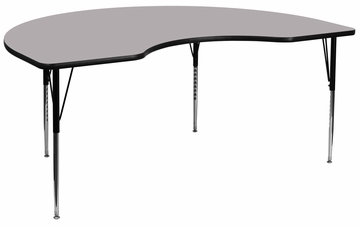 48''W x 96''L Kidney Shaped Activity Table with Adjustable Legs in Gray - XU-A4896-KIDNY-GY-T-A-GG