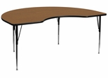 48''W x 96''L Kidney Shaped Activity Table with Adjustable Legs in Oak - XU-A4896-KIDNY-OAK-T-A-GG