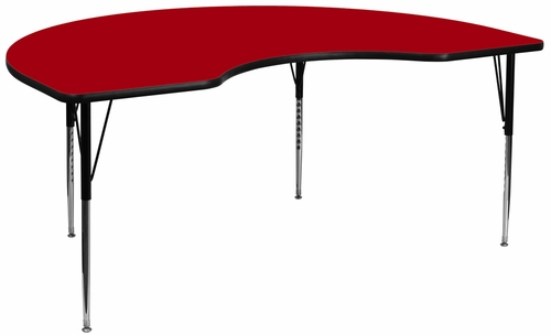 48''W x 96''L Kidney Shaped Activity Table with Adjustable Legs in Red - XU-A4896-KIDNY-RED-T-A-GG