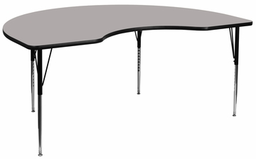 48''W x 96''L Kidney Shaped Activity Table with High Pressure Grey Laminate Top - XU-A4896-KIDNY-GY-H-A-GG