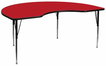 48''W x 96''L Kidney Shaped Activity Table with High Pressure Red Laminate Top - XU-A4896-KIDNY-RED-H-A-GG