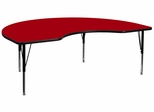 48''W x 96''L Kidney Shaped Red Activity Table - Height Adjustable Pre-School Legs - XU-A4896-KIDNY-RED-T-P-GG