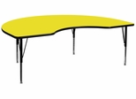48''W x 96''L Kidney Shaped Table with 1.25'' Thick High Pressure Yellow Top - Adjustable Pre-School Legs - XU-A4896-KIDNY-YEL-H-P-GG