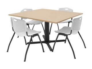 "48""x48"" Table and 4 ""M"" Stack Chairs Set - TBS48BESC47"