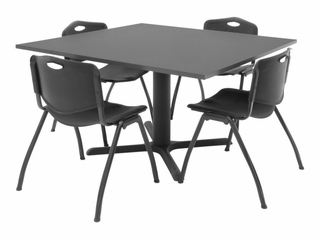 "48""x48"" Table and 4 ""M"" Stack Chairs Set - TBS48GYSC47"